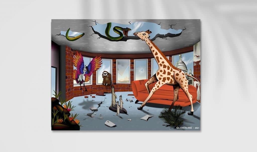 Dessin vectoriel, d'un intérieur parisien à l'abandon et dans lequel la nature a repris ses droits avec des plantes, une girafe, un serpent, un paresseux...
